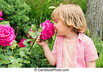 Outdoor portrait of a cute little blond boy, smelling beautiful bright pink rose in the garden