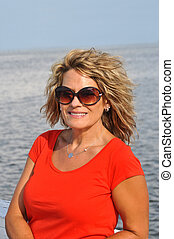 Outdoor Portrait of Attractive Middle Age Woman