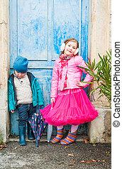 Outdoor portrait of cute children
