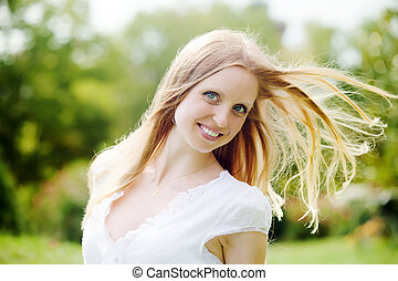 positive long-haired woman