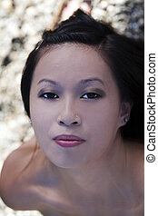 Outdoor Portrait Young Attractive Asian American Woman
