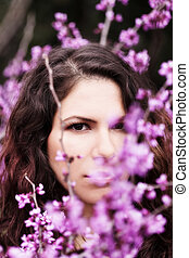 Outdoor Portrait Young Brunette Caucasian Woman Amid Blossoms