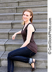 Outdoor portrait young woman