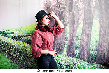 outdoor portraits - Beautiful girl drinking coffee at the...