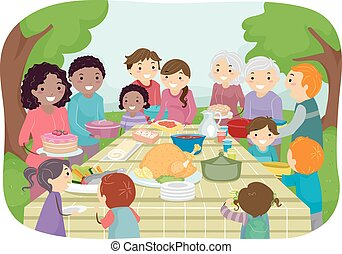 Outdoor Potluck - Illustration Featuring a Group of People ...