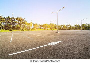 Outdoor public parking road