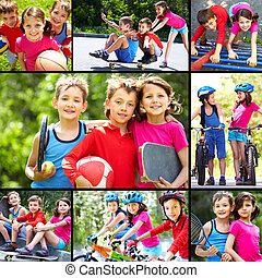Outdoor recreation - Collage of three happy children...