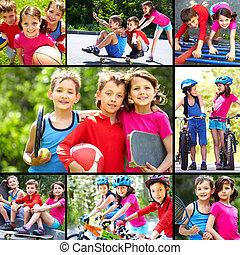 Outdoor recreation - Collage of three happy children...