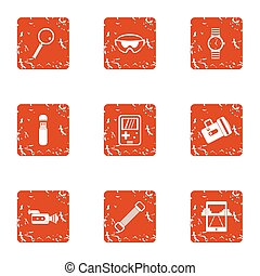 Outdoor recreation icons set, grunge style