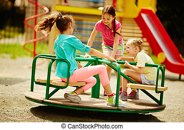 Outdoor recreation - Image of joyful friends having fun on...