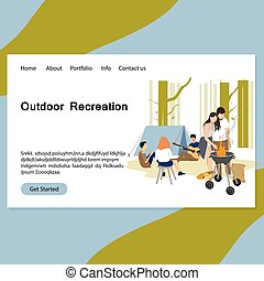 Outdoor recreation landing page, friends barbeque picnic