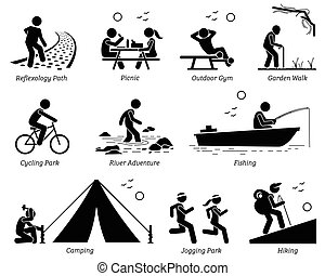 Pictogram depicts reflexology path, picnic, outdoor gym, garden walk, cycling park, river adventure, fishing, camping, jogging, and hiking.
