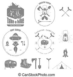 Outdoor Recreation Vector Badge Set.