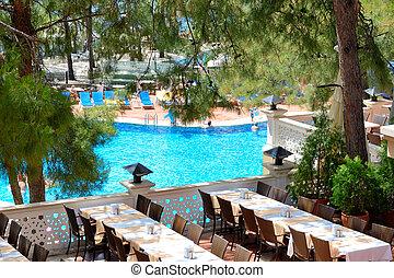 Outdoor restaurant at modern luxury hotel, Marmaris, Turkey