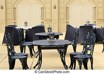 Outdoor restaurant, chairs with table