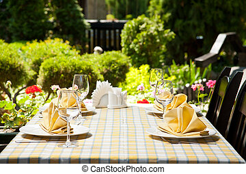 Outdoor restaurant dining table