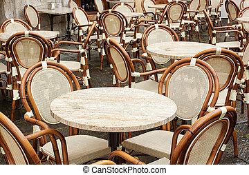 Outdoor restaurant - Empty outdoor restaurant on the street