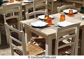 Outdoor restaurant in Bari, Italy. Region of Apulia.