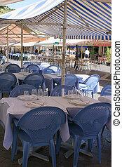 outdoor restaurant in Nice, France