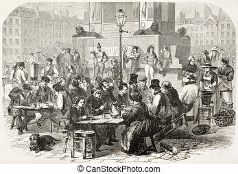 Outdoor restaurant in Paris old illustration. Created by ...