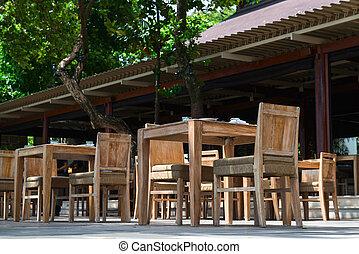 Outdoor restaurant in wooden ctyle - Outdoor restaurant with...