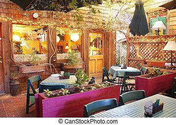 Outdoor Restaurant - Interior of an outdoor restaurant