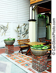 Outdoor restaurant - Seating at an outdoor restaurant in ...