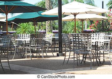 Outdoor Restaurant - Shot of an outdoor restaurant. Tables ...