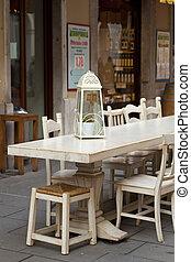 Outdoor restaurant table