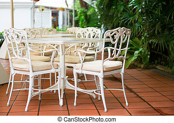 Outdoor restaurant tables and chairs in classical style