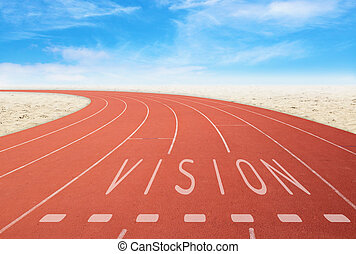 outdoor running track with sign vision with desert and sky...