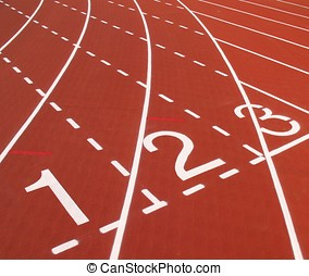 Outdoor Running Track - -- with white markings, using red...