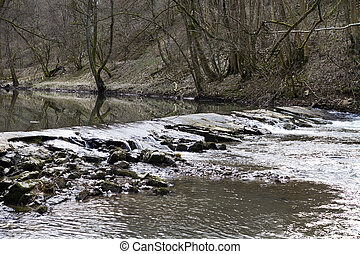 outdoor scene at small river with a weir