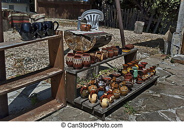 Outdoor shop for handmade ceramic ware near Glozhene orthodox  Monastery,  located on the northern slope of  Central Balkan mountain, Teteven town, Bulgaria