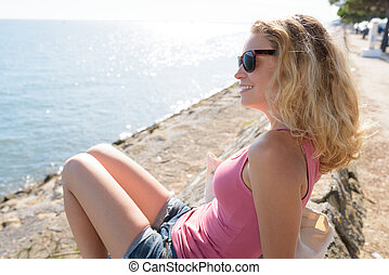 outdoor shot of beautiful young female model