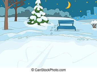 Outdoor Skating Rink. Cartoon Background. Vector...
