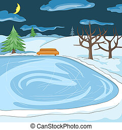 Outdoor Skating Rink. Cartoon Background. Vector...