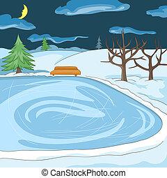 Outdoor Skating Rink. Cartoon Background. Vector ...