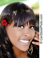 Outdoor Smiling Portrait Attractive African American Woman