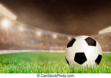 Outdoor Soccer Stadium With Football on Grass and Copy Space