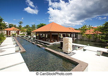 Outdoor spa therapy lounge in the tropics
