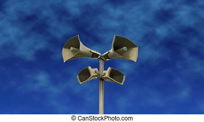 Outdoor speakers with blue sky