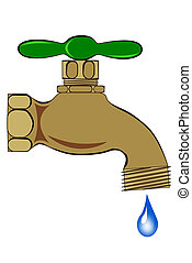 A Outdoor brass spigot with water droplet