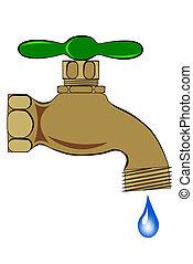 Outdoor spigot - A Outdoor brass spigot with water droplet