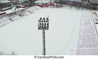 outdoor stadium aerial video photography - winter outdoor...