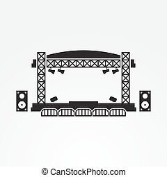 Outdoor Stage Vector Icon Black On A White Background