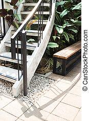Outdoor stairs in the garden