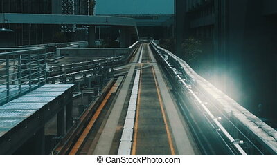 Outdoor subway track - View from windshield window of the...