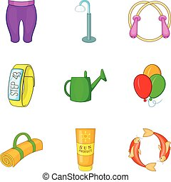 Outdoor summer sport icon set, cartoon style