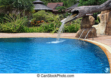 outdoor swimming pool and watwer flowing in Thailand